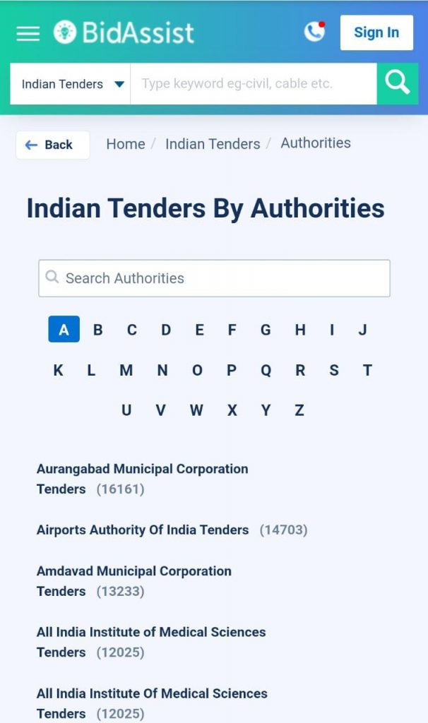 tender search result by authorities, indian tender authorities,