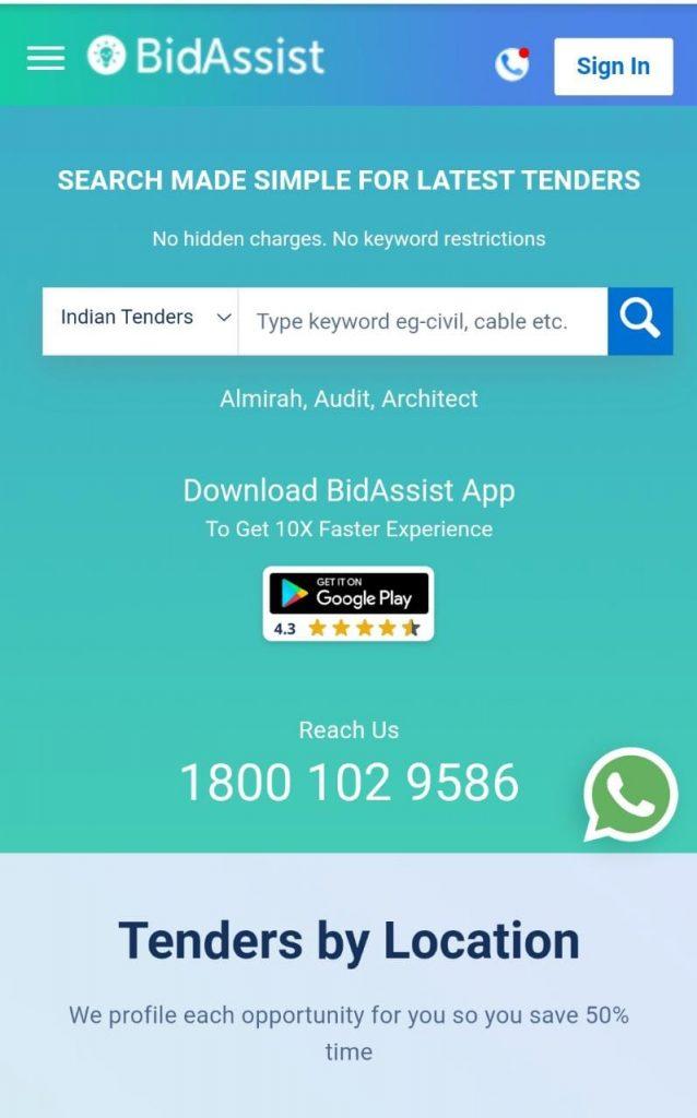 bidassist home page, bidassist tender portal.