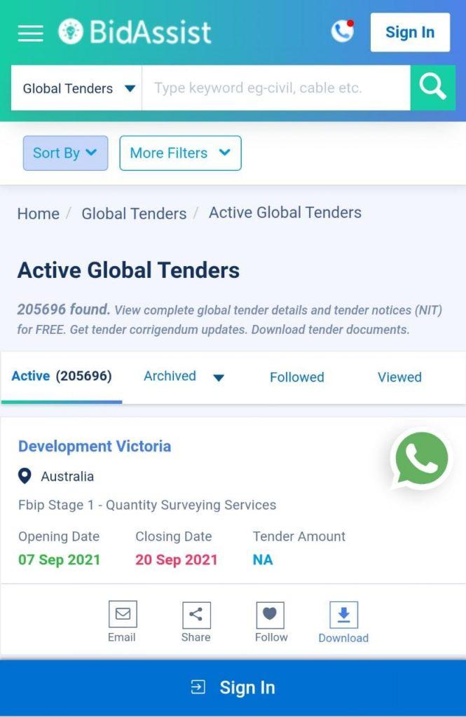 All active global tender details,