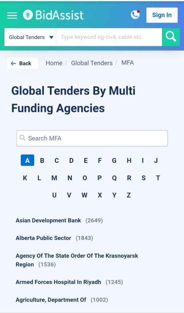 Global Tenders By Multi-Funding Agencies,