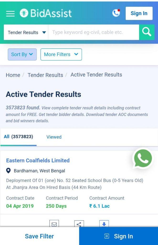 details of all tender results, tender awardees