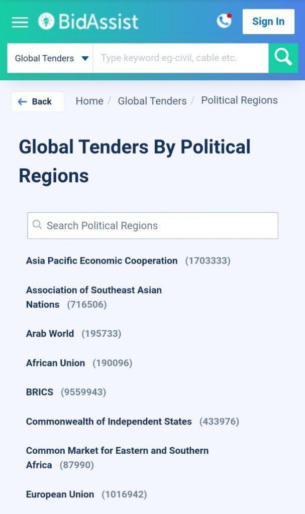 global tenders by political details,